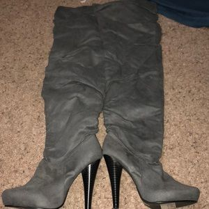 Grey suede over the knee boots.